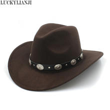 LUCKYLIANJI 100% Wool Felt Kid Child Western Cowboy Hat With Wide Brim Punk Leather Belt Jazz Cap (Size:54cm Adjust Rope)