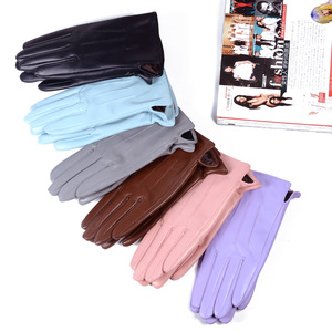 Image 2 - Womens Ladies 100% Real Leather Sheep skin Winter Warm Thick Lining white gloves Colorful Blue Cute Outdoor Short Gloves