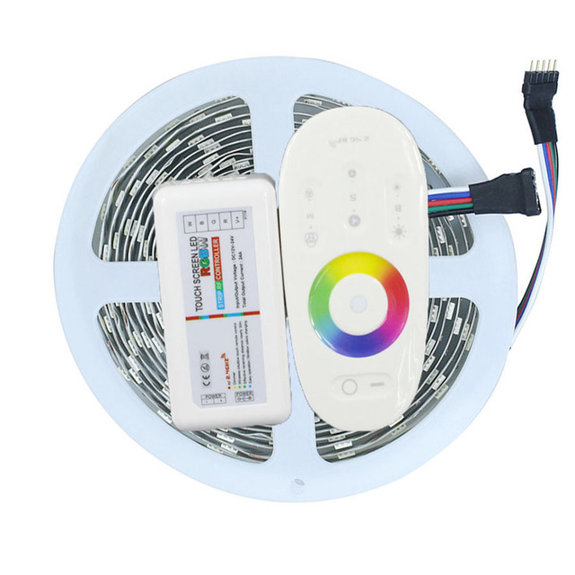 5M RGBW RGBWW 300Leds 5050 SMD LED Strip Light Non-Waterproof DC12V + RGBW 2.4G Touch Screen RF Remote Controller
