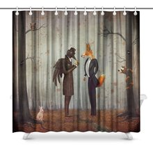 Raven And Fox In A Dark Forest Looking At The Watch Art Digital Print Polyester Fabric