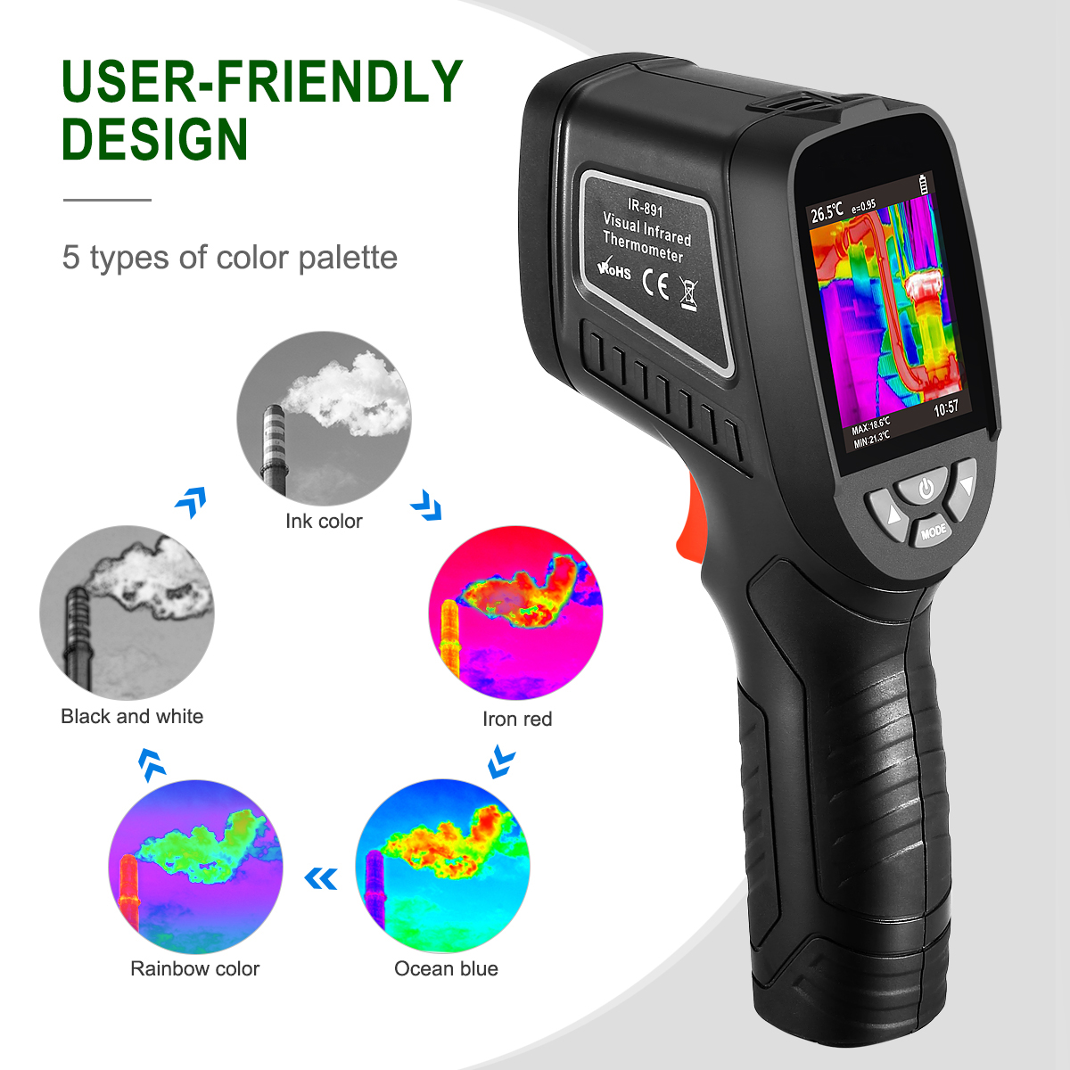 Professional Thermal Imaging Camera Infrared IR Digital Thermometer Image Visual