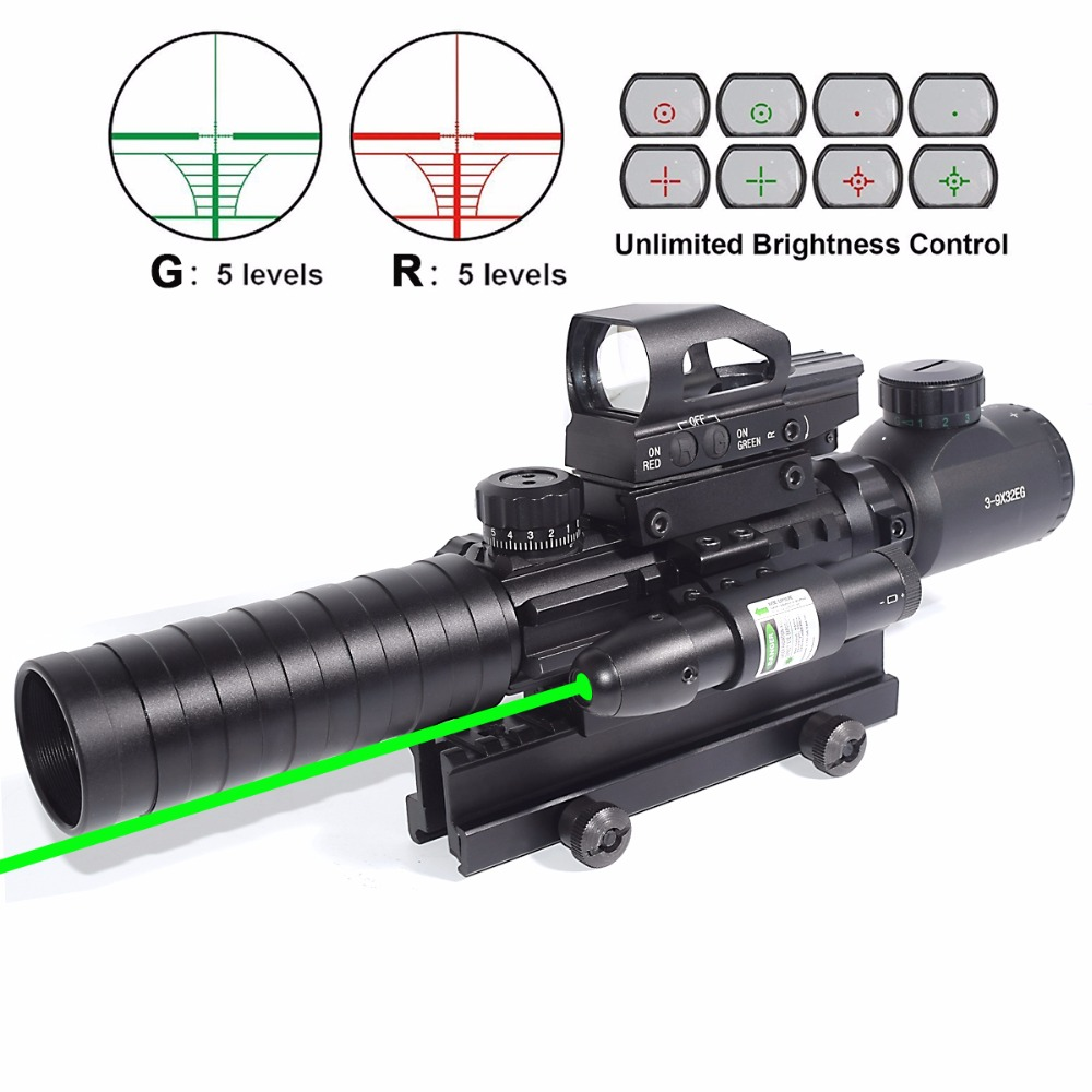 AR15 Rifle Scope 3-9x32EG Rangefinder Illuminated Reflex Sight 4 Reticle Red&Green Quick Release Red Dot Laser Sight 14 Slot tactical rifle scope 3 9x40eg dual illuminated green laser scope with tactical 4 reticle red dot reflex sight