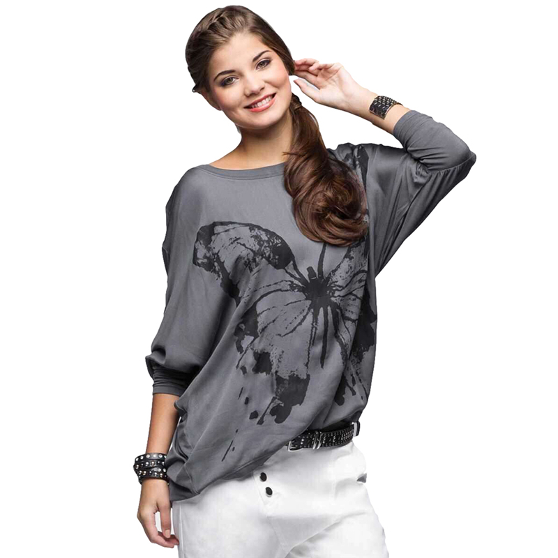 New Womens Batwing Long Sleeve Butterfly Print Blouse Lady Loose Shirt Tops 2016 Popular Autumn Winter Fashion Blusa Casual