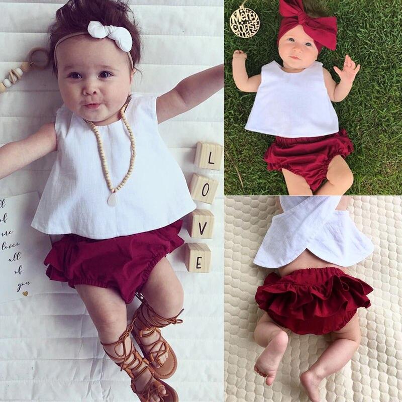 3PCS Newborn Toddler Babies Clothing Set kids Girl Clothes Top+Shorts+Headband Outfit Set plain headband 3pcs