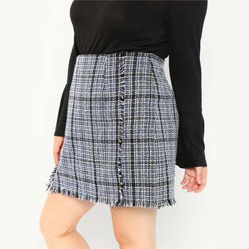 Plus Size Frayed Trim Hem High Waist Blue Plaid Tweed Mini A-Line Skirt