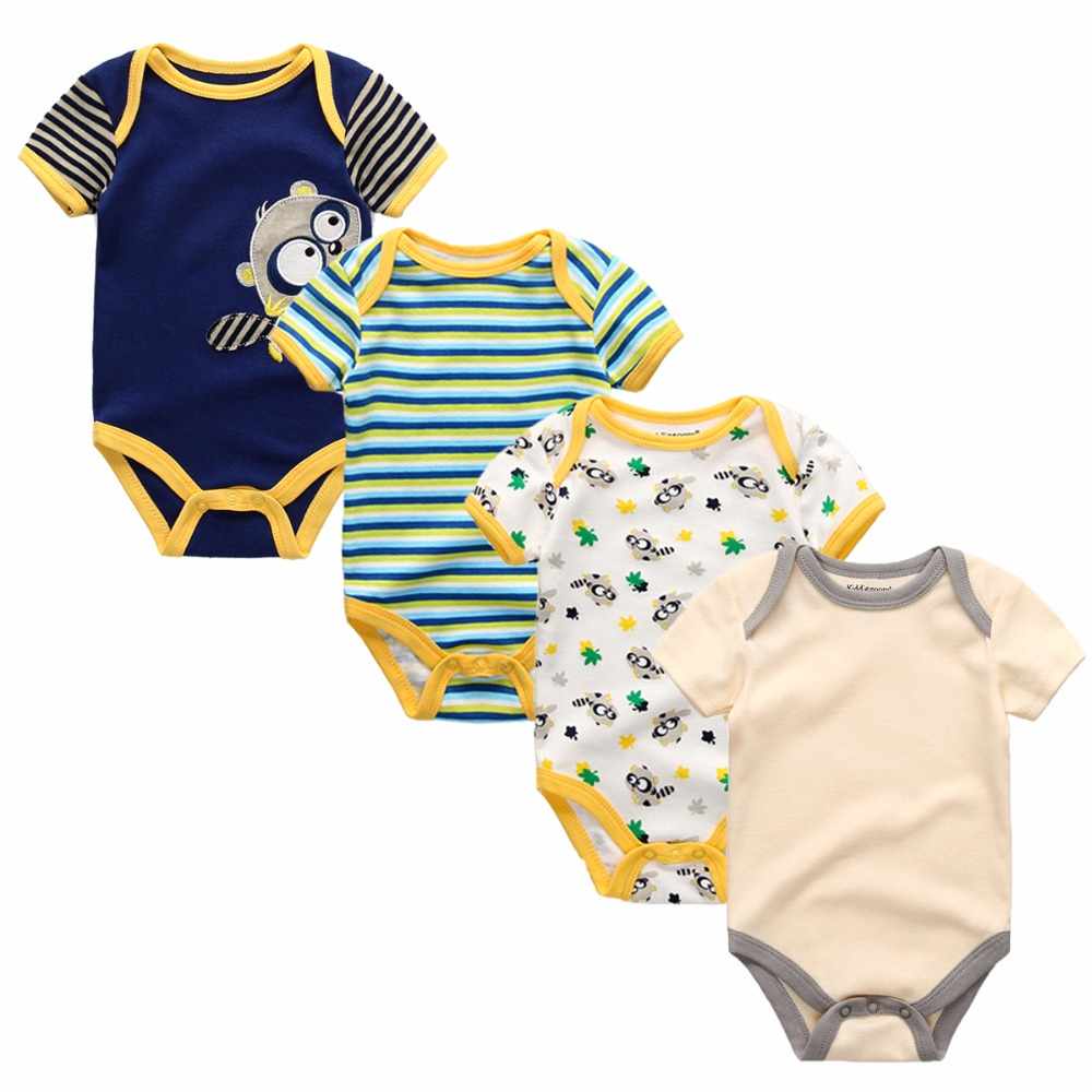 4pcs/lot Short Sleeve Summer children clothing 100%cotton baby Jumpsuit O-neck baby Rompers Boy Girl Cloth Roupas Infantil baby rompers o neck 100