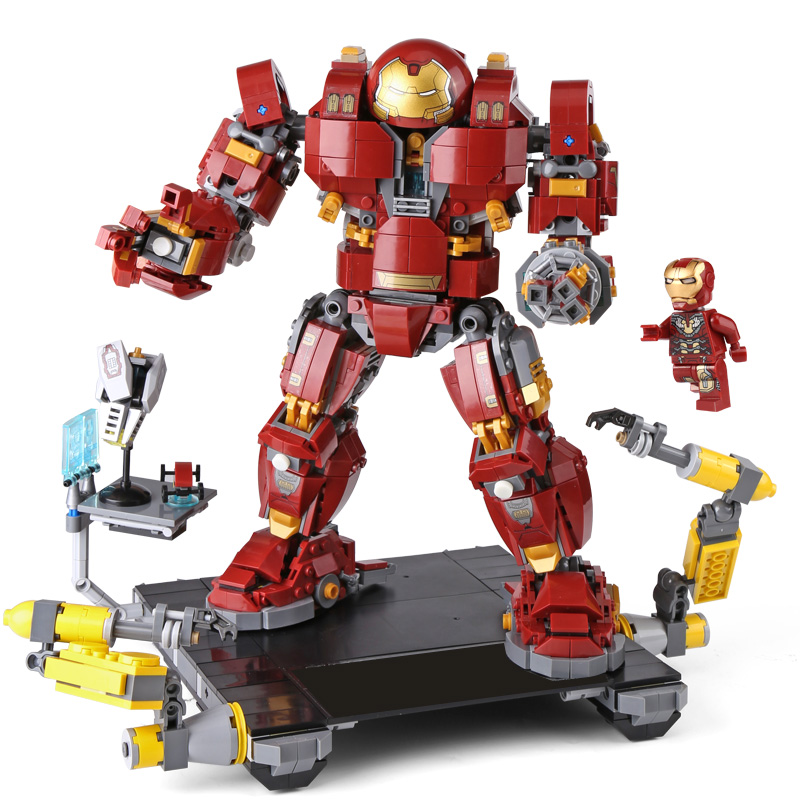 1527Pcs Super Hero Avengers Compatible legoINGly Marvel The Iron Man Anti Hulk Mech Kid Toys Building Bricks Blocks Model Gifts 2018 hot compatible legoinglys marvel super hero avengers with light building blocks iron man mk43 mech brick toys for children