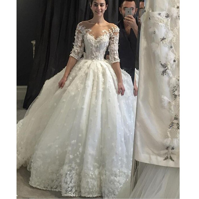 Vintage Lace Half Sleeve Wedding Dress 2017 With Brading Pearls Scoop Sheer Neck Flowers Ball Gown Vestido De Noiva Plus Size In Dresses From