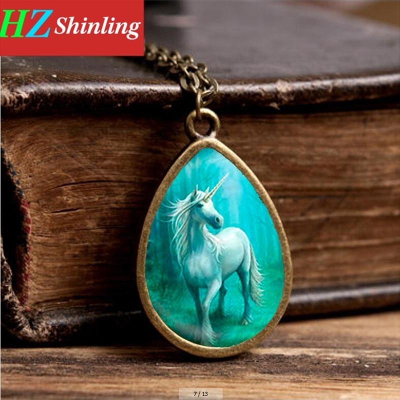2017 New Mysterious Unicorn Necklace White Horse Pendant Teas