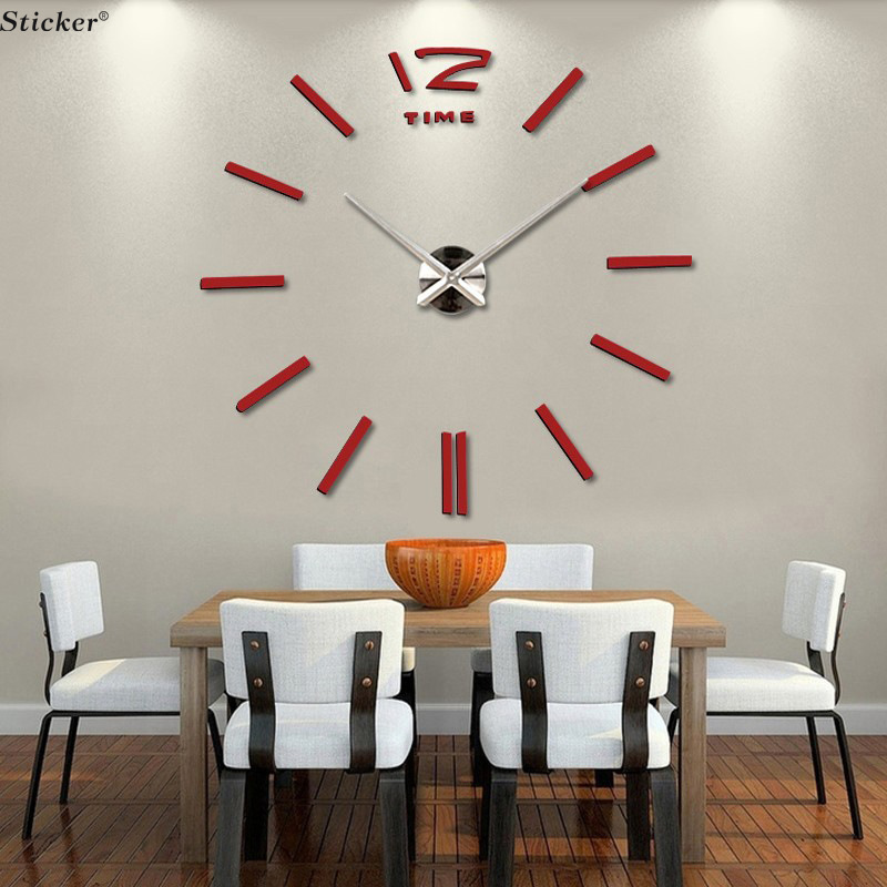 Quartz Diy 3D Wall Clock Stickers 20 Inch Large Big Clock Decoratr Your Living  Room Best ... Part 67