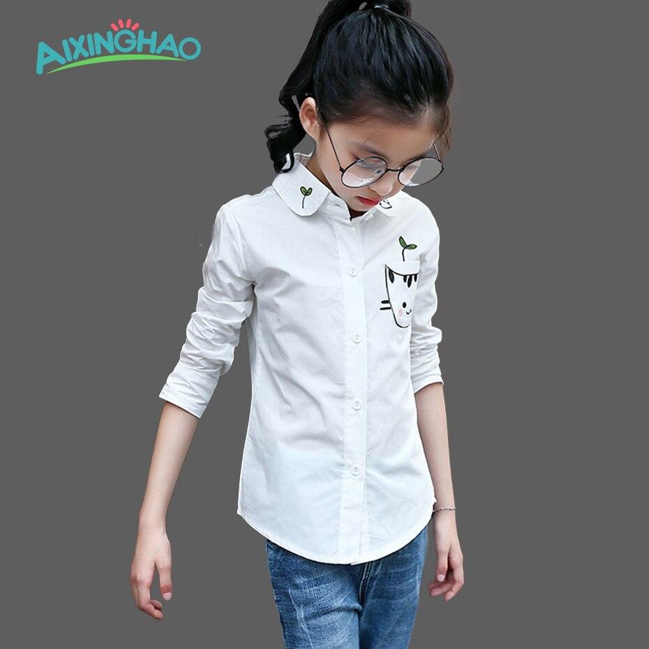 Aixinghao Girls White Blouses Cute Cat Full Sleeve Shirts For Girls School Uniform Fashion Kids Shirts