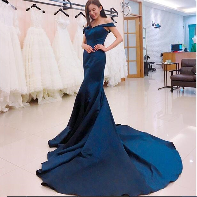 Exquisite Dark blue Mermaid Evening Dress Off Shoulder V Neck Elegant Satin Noite Vestidos Formal Gowns Prom Dresses