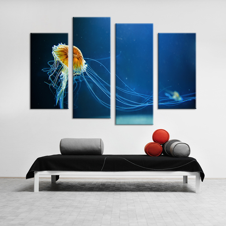 4PCS Ocean Arts Living Rooms Set Wall Painting Print On Canvas For Home Decor Ideas Paints Pictures Art No Framed In Calligraphy From
