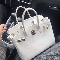 Classic Genuine Leather Women's Handbag High Quality Fashion Top handle Bag Totes Luxury Shoulder bag White Color