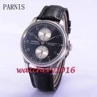 ★  43mm Parnis Черный циферблат PVD Чехол Power Reserve Автоматическое движение Мужские наручные часы # ★