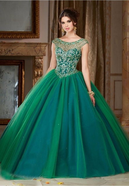 O Neck short sleeve portrait Floor length Two Green colors Tulle ...