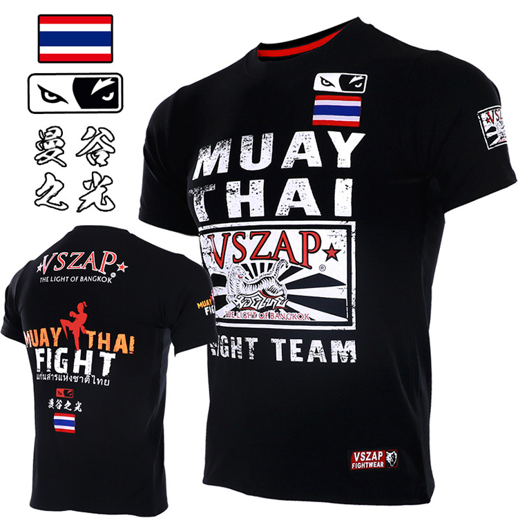 VSZAP Fighting Muay Thai Boxing MMA Fighting Thai Tiger Sports Broadcast For Short Sleeve T-shirt Male Fitness Muscle Free Comba