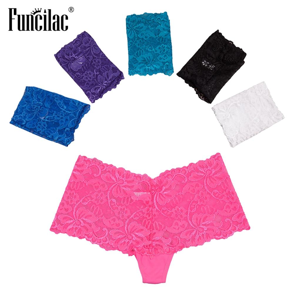 FUNCILAC Women's Boyshorts Sexy   Panties   Lace Transparent Underwear Print Letter Intimate Lingerie Female Underwear 5Pcs/Lot