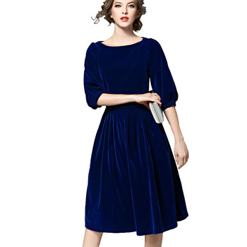 1805cfafb7 Mulheres Vestidos De Veludo Outono Inverno Em Torno Do Pescoço de Lã Do  Vintage Meia Manga Uma Linha de Vestido Do Renascimento Vestidos Cortos  Azul ...