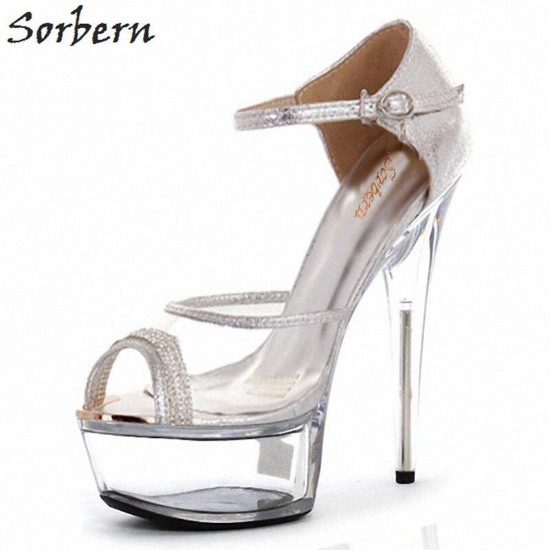 Sorbern Transparent Pvc Open Toe Sandals Women Ankle Strap Clear Heels Open Toes Heels Fetish Heels