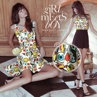 Retail&Wholesale Cute Cartoon Digital Print Stretch Silk(93%) Satin Fabric For DIY Dress/Shirt/Pants 19Mommie 118CM*100CM