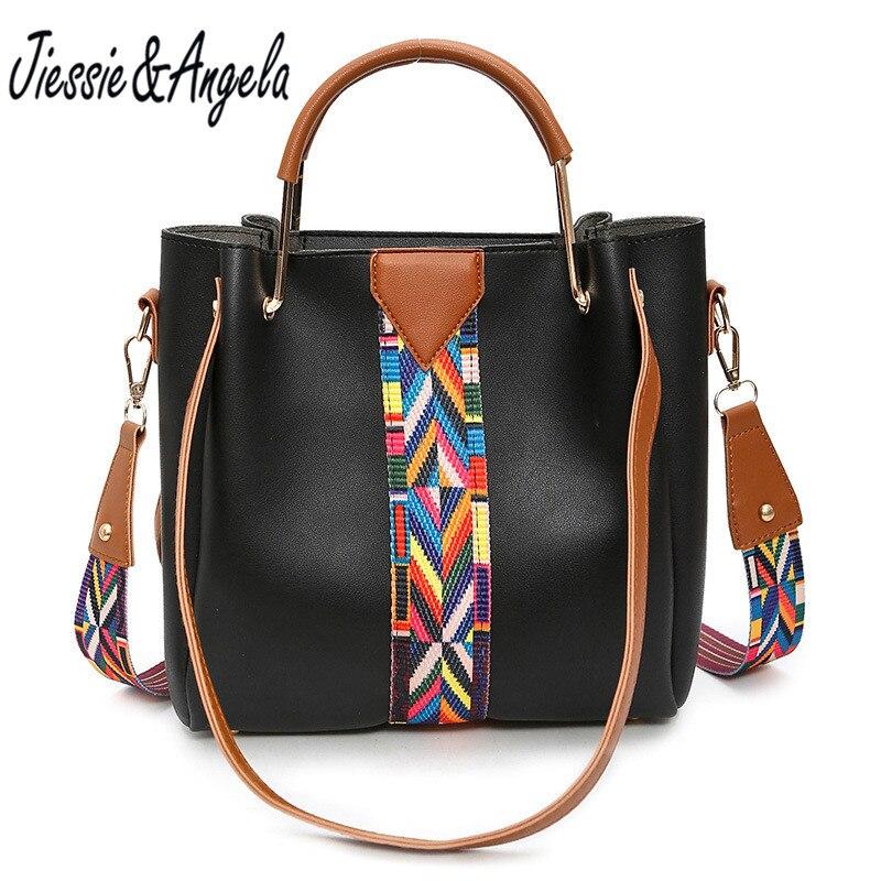 Jiessie & Angela New famous bag for women leather handbag big casual women tote bags fashion strap shoulder bags bolsa feminina
