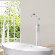 Floor Mount Shower Ser Single Handle Chrome Soild Brass Body Rain Hand Spray Shower Hose Bathtub