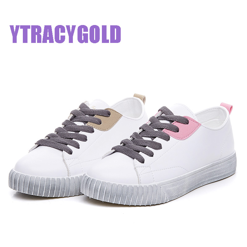 YTracyGold New Arrival Comfortable Casual White Shoes For Women Breathable Lace-up Flat Shoes Women Chaussures Femme Ladies shoe hevxm 2017 spring new ladies fashion casual flat bottom high white shoes women hollow comfortable breathable embroidered shoes
