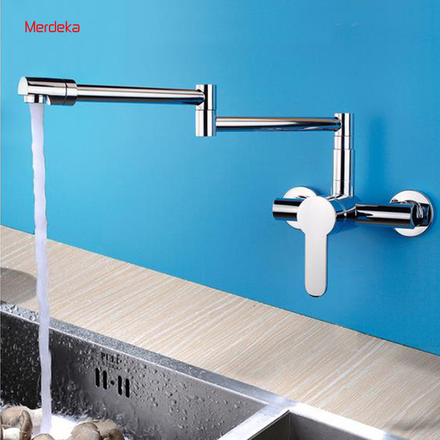 New Arrival Extend Folding Spout Wall Mounted Brass Kitchen Faucet ...