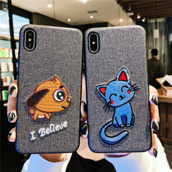 Sewing SFor Case iPhone XS case Max XR case x embroidery case For iPhone 8 7 Plus Lovely animal Cloth Coque For iPhone 6 6S Dog 2