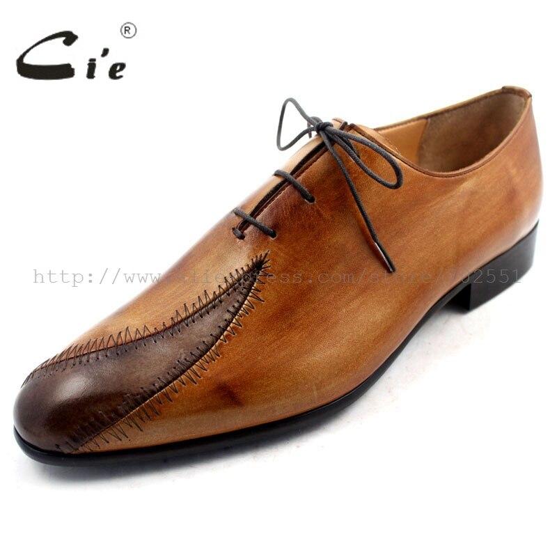Cie Gratis Verzending Custom Bespoke Handgemaakte Echt Leer heren Oxford Patch Veter Schoen Kleur Bruin No. OX195 Mackay Craft - 2