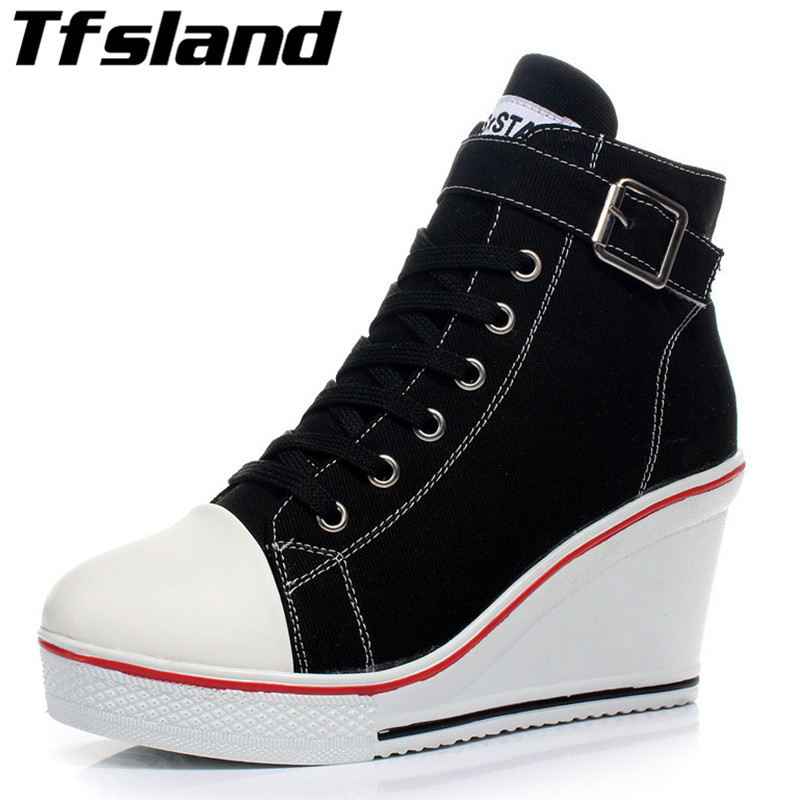 Tfsland Nye Sexy Women Pustende Wedges Canvas Sko Høy Top Zippers 8cm High Heel Zapatos Mujer Toning Shoes Sneakers Size 43