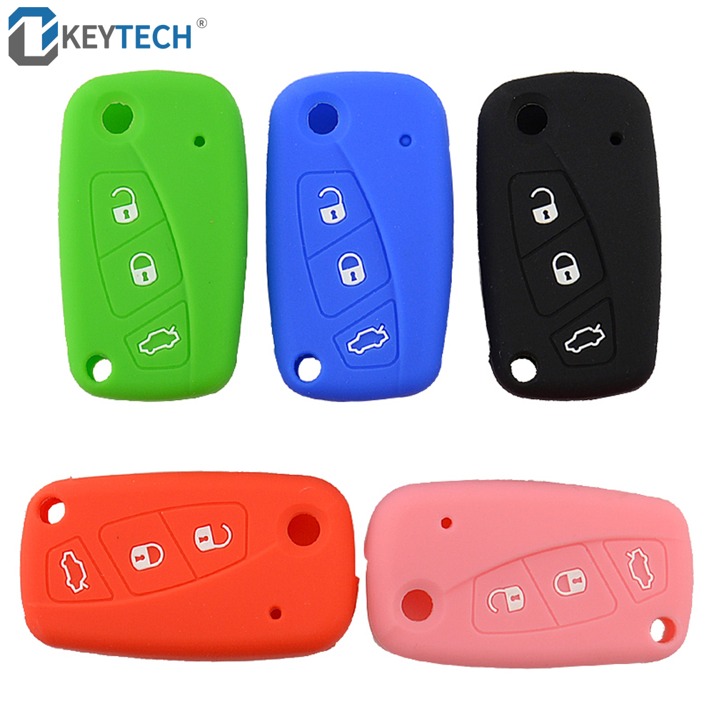 OkeyTech Soft Silicone Car Key Case Cover For FIAT Panda Stilo Punto Doblo Grande Bravo 500 Ducato Minibus 3 Button Floding Key