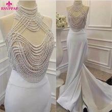 Neue Ankunft Long White Formales Kleid Sheer High Neck Perlen Bodenlangen Satin Frauen Mermaid Abendkleider 2016 robe de soiree