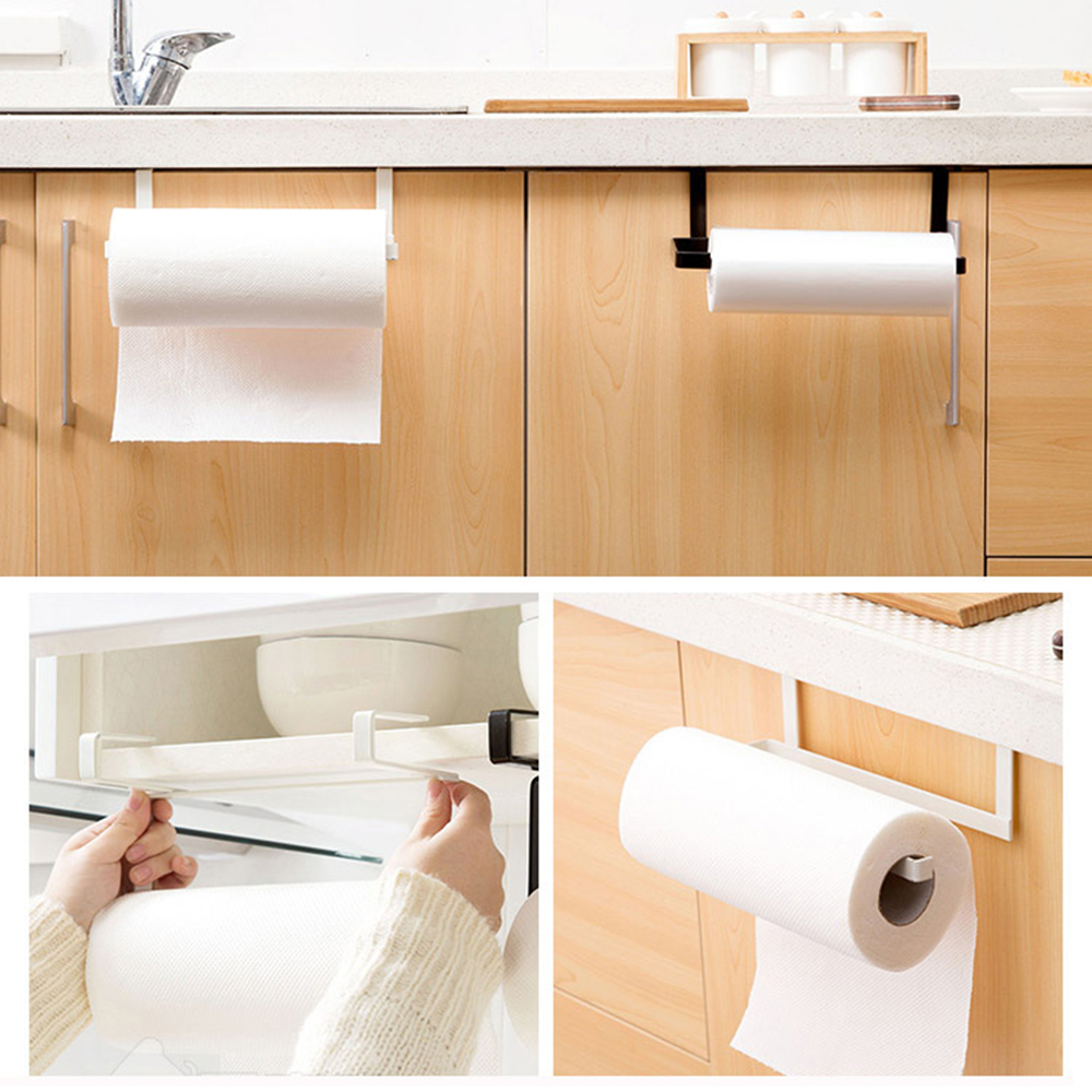 Kitchen Tissue Holder Rack Hanging Bathroom Toilet Roll Paper Holder Towel Rack Kitchen Stand Towel Holder Storage Shelf