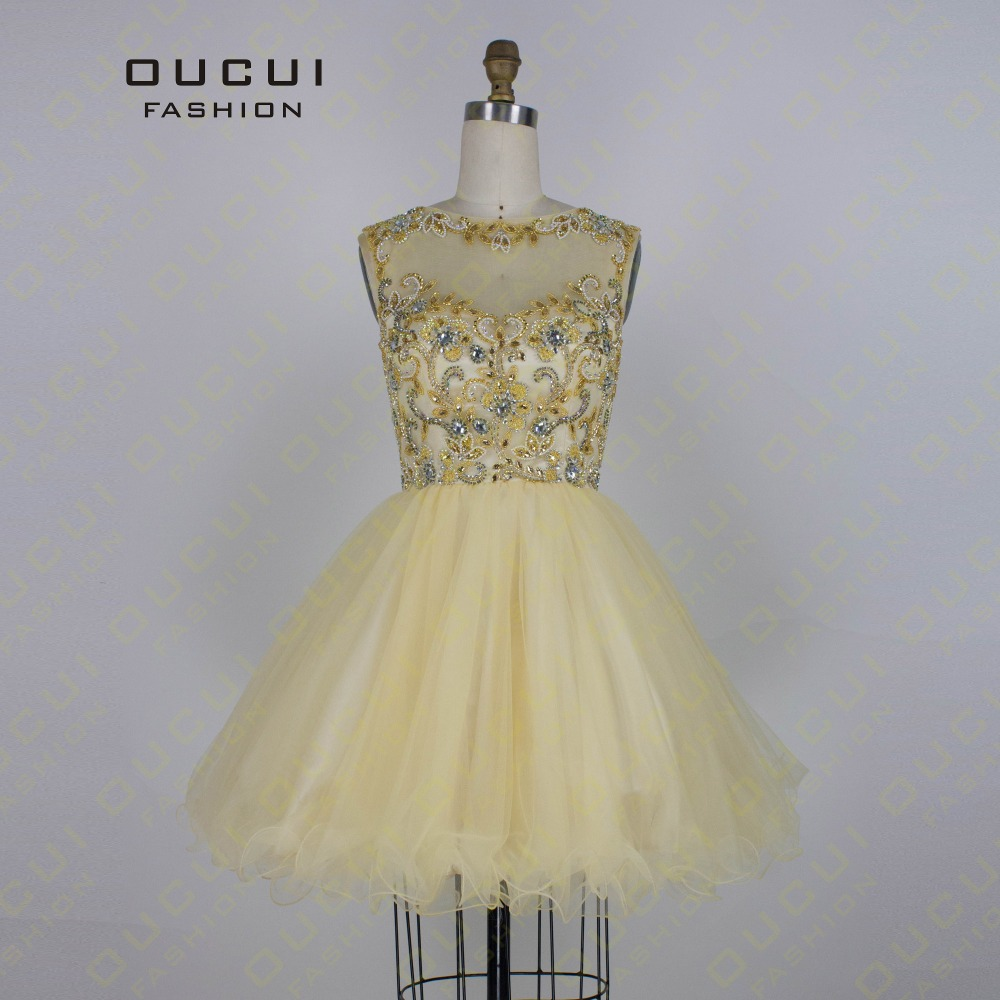 Real Photos Gold Color Tulle Hand Make Short Party Dress High Neck ...