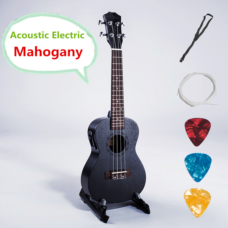 Ukulele 21 23 26 Inches Soprano Concert Tenor Acoustic Electric Pick Up Guitar 4 Strings Black Guitarra Handcraft Mahogany Uke