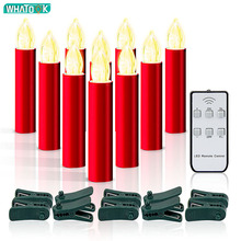 10 PCS Red LED Electric Candles Flameless Tea Lights Fake Velas Flame Votive Timer Tealight Home Xmas Tree Festive Wedding Decor