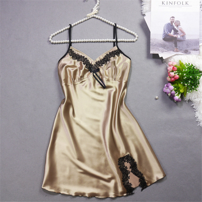 2018 Summer Lady   Nightgown   Women Nightwear Nightdress Female Sleeveless Nighty Sexy Sleepwear   Sleepshirt   Home Clothing AD0262