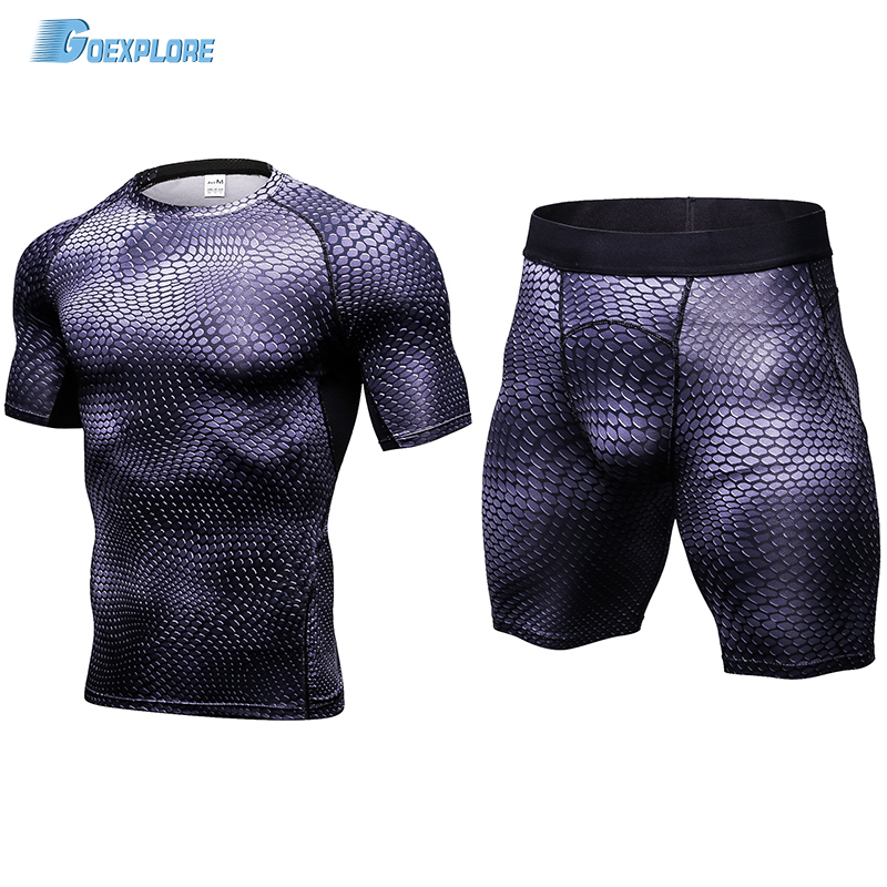 Goexplore Running Sets Men Short and Shirt Compression Tights Underwear Fitness Gym Jogging Football Tennis Training Sport Suit