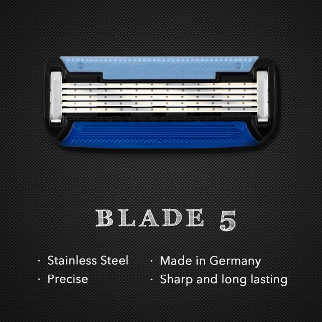 Qshave Black Spider Manual Man Shave Razor with Trimmer Can Design Your Name on it (1 Handle, 1pc X6 Blade & 1pc X5 Blade)