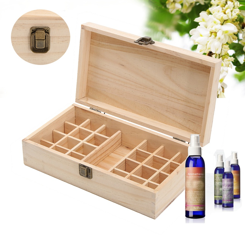 1pc Metal Lock Jewelry Treasure Wooden Box Case Essential Oil Bottles Aromatherapy Container Carry Organizer Storage