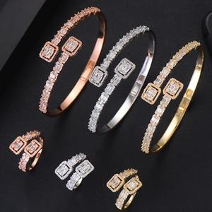 Image 2 - GODKI Conjunto de anillo de compromiso de lujo para mujer, conjunto de anillo de brazalete juegos de joyas para mujer, brincos para as mulheres 2020