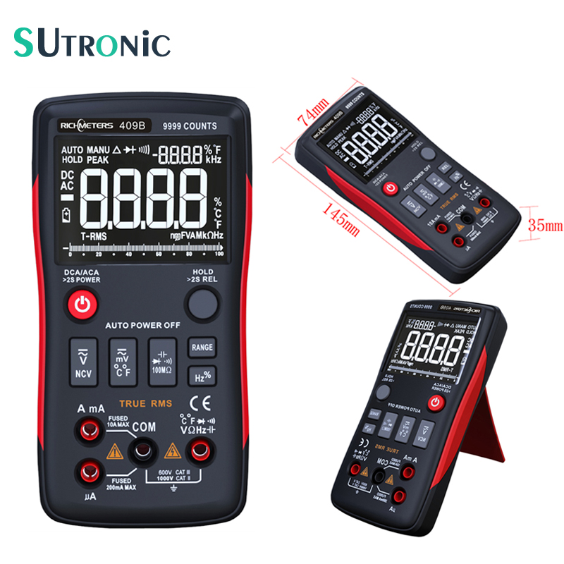 RM409B True RMS Digital Multimeter 9999 Counts Analog Bar Graph Voltage Ammeter Ohm Auto range Frequency