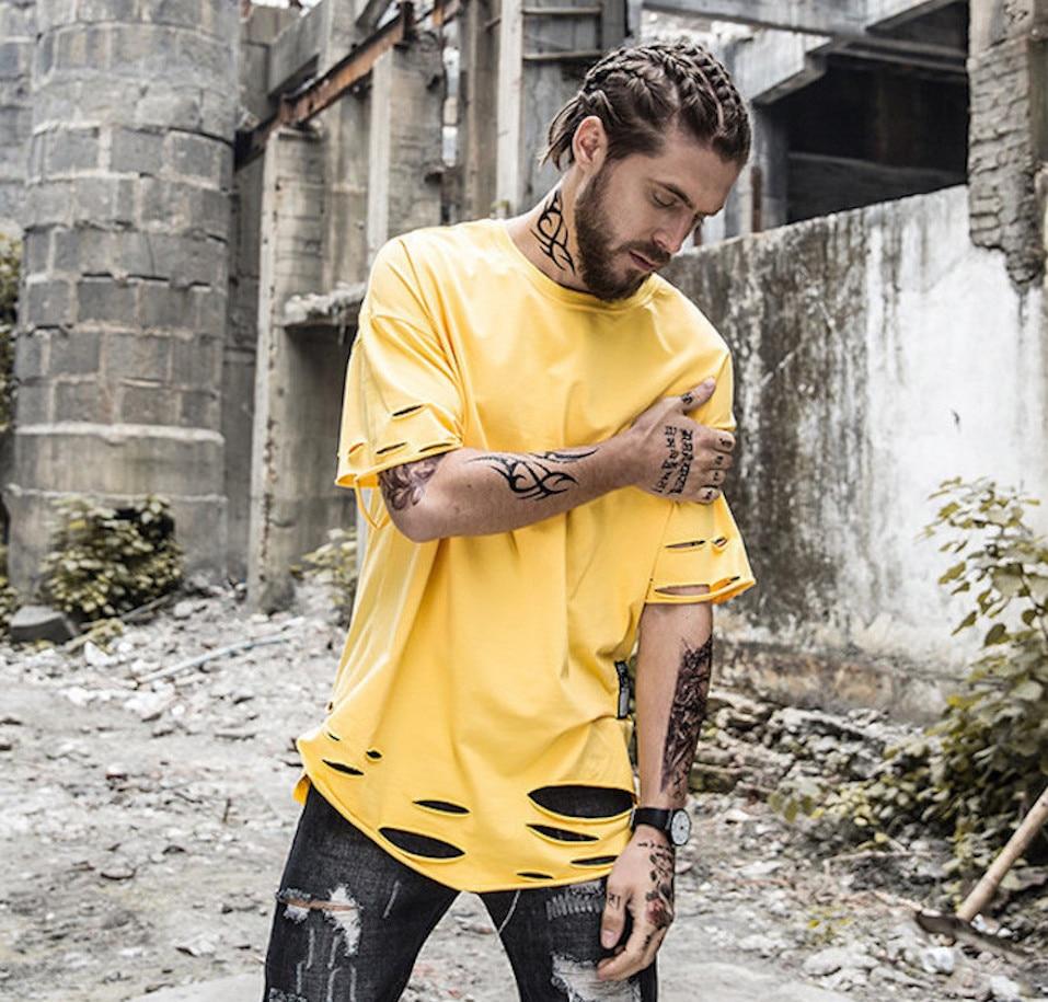 Mens New Hipster Hip Hop Ripped Round Hemline T Shirt ...