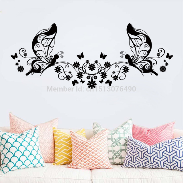 Hot Sellings 114*46CM Classical Black Flower Butterfly Wall Art Living Room  Floral Wall Stickers