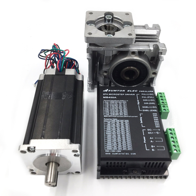 2ph 60Nm Stepper Motor Nema23 L112mm Worm Gearbox Ratio 20:1 DC24-50V Stepper Driver CNC Router Kit