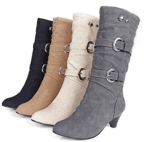 7b8411495 Mujeres invierno de caña alta Botas de tacón alto Botas trabajo tacones  cuadrados arranque a prueba