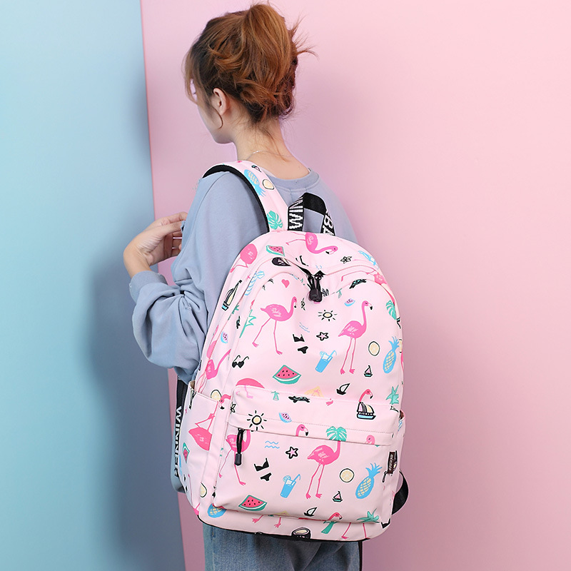 Waterproof Women Backpack Cute Bookbag Pink Flamingo Animal Knapsack Printing School Bagpack Bag For Teenage Girls Mochila #6