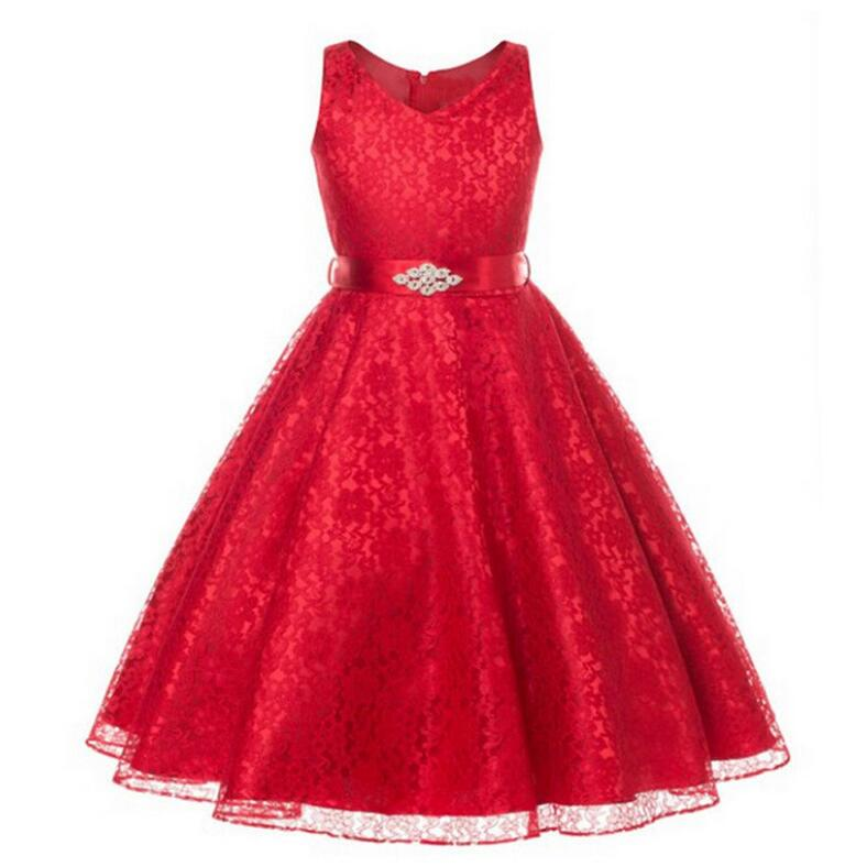New Style Girls Dresses Wedding Bridesmaid Lace Party ...